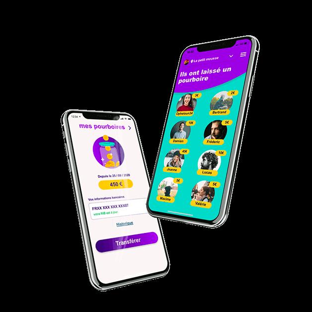 Exemple de deux écrans de l'application mobile LePourBoire mettant en scène le fonctionnement du pourboire en ligne.