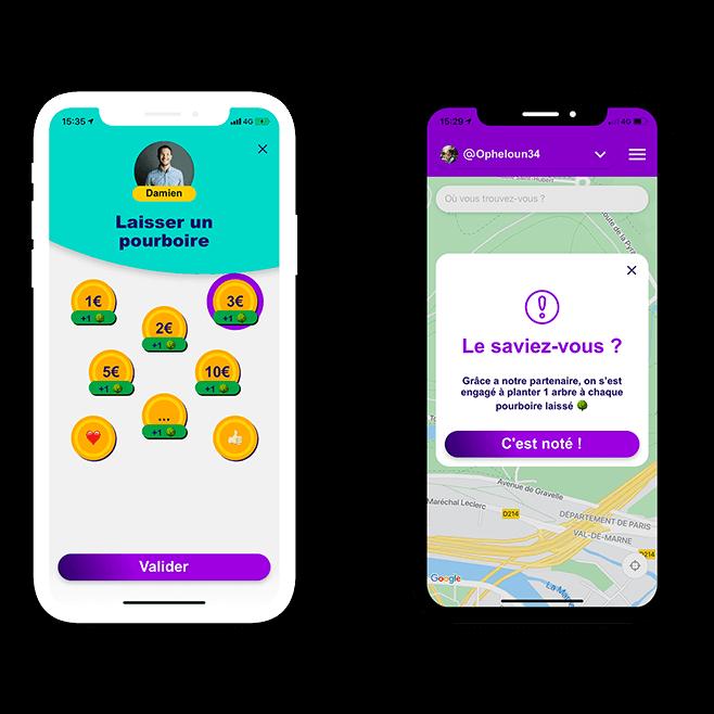 2 écrans de l'application de pourboire en ligne mettant en avant le partenariat avec Tree-Nation.